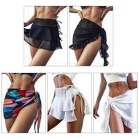 Womens Short Sarongs Sarongs Beach Wrap Maillot de bain Maillot de bain Bikini Tankini Sheer Mousseline de soie Couvre Jupe de bain Jupe de bain Scadre Echarpe