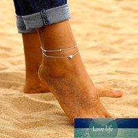 Nuevo estilo Simple Heart Anklets descalzo Sandalias de ganchillo Pierna de joyería de pie Nuevos tencillos en el tobillo del pie para las mujeres Cadena de cuentas Anklet
