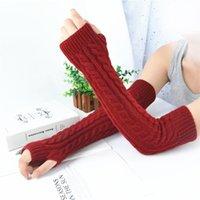 Five Fingers Gloves 2021 Woolen Long Fingerless Winter Warm For Women Acrylic Knitted Sleeve Arm Warmers Outdoor Mittens