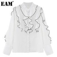[EAM] Frauen Weiße Rüschen Vintage Bluse Stehkragen Langarm Lose Fit Hemd Mode Gezeiten Frühling Herbst 2021 1DD526700 Damen Blusen