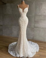 Sexy Spaghetti Strap Mermaid Wedding Gowns Full Lace Plus Size Garden Country Bridal Party Dresses Robe De Marriage 2021