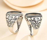 Kluster ringar 13 * 18mm 925 Sterling Silver Semi Mount Bases Blanks Base Blank Pad Vintage Ring Inställning Set Smycken Present DIY A5363