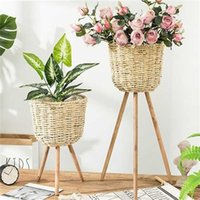Assoalho Vaso Planta Stand Wickerwork Flor Pot Pot Potting Potted Rack Decor Rústica T200104 344 R2