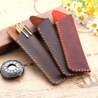 Pencil Cases 1pc Handmade Genuine Leather Bag Vintage Fountain Ballpoint Portable Double Case Storage Sleeve Pouch Bags