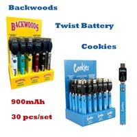 Cookies Backwoods Law Twist Preheat Battery 900mAh Bottom Voltage Adjustable Usb Charger Vape Pen 30Pcs with Display Box