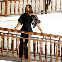African Black Chiffon Prom Dresses With Puffy Half Sleeves Illusion Rufflus Evening V Neck Black Girls Party Gowns