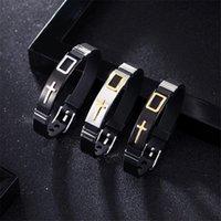 Charm Bracelets Adjustable Length Bracelet For Women Men Bangle Black Silicone Band Design Stainless Steel Christ Cross Prayer Male Jewelry