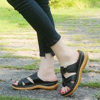 편안한 여성 여름 오픈 발가락 샌들 슈퍼 소프트 정형 외과 상위 품질 워킹 샌들 드롭 배송 Concealer Toe C00Q #