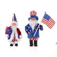 Unabhängigkeitstag Weihnachten Santa Puppe Spielzeug Party Patriotische Ornamente 4. Juli Geschenk Bauernhaus Küche Tiered Fach Dekoration Hwd6766