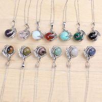 Chaîne plaqué argent classique en pierre mixte dragon griffe ronde perles de pendentif collier bijoux