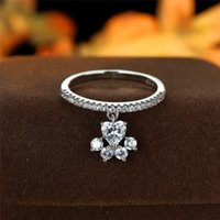 Wedding Rings Luxury Female Crystal Dog Pendant Ring Trendy Gold Silver Color Engagement Charm White Zircon For Women