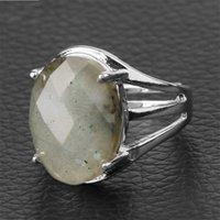 CSJA a forma di uovo a forma di pietra naturale anelli in pietra multifaceted cabochon viola cristallo lapis argento colore anello di dito per le donne regolabili 1663 v2