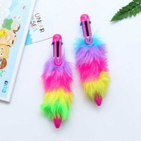 Ballpoint Pens Creative cute faux plush 6 Color plastic Stationery ballpoint pen School Supplies Office Accessories N4UG