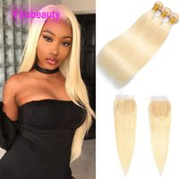 Indian Human Hair Extensions Silky Straight 613# Three Bundles With 4*4 Lace Closure Free Middle 3 Part 16-30inch Blonde