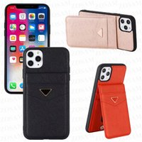 Luxury Triangle Designer Phone Cases For IPhone 13 13pro 12 Mini 12pro 11 Pro Max X Xs Xr 8 7 Plus Leather Card Pocket Case Lazy Holder Cover for Samsung S21