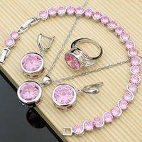 Wedding Jewelry Sets Women Elegant Silver 925 Big Pink CZ Stone Earrings Rings Fashion Accessories Necklace Kit Drop