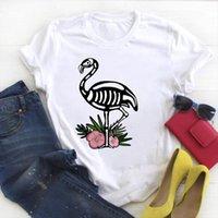 Y las mujeres cráneo flamenco tumblr hombre camiseta para mujer kawaii divertido dibujos animados señoritas verano tapa femenina top gráfico