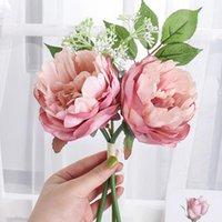 Decorative Flowers & Wreaths Pink Artificial Peony High Quality Bouquet Wedding Home Table Decor Silk Fake Christmas Arrangement Scrapbook