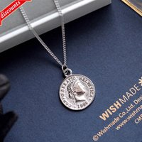 유럽과 미국 목걸이 새로운 50 센트 동전 펜던트 레트로 골드 코인 초상화 collarbone 체인 간단한 패션 개성 보석