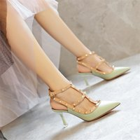 Luxury Dress Shoes 7713-1 Rivet Pointed High Heels, Women's Thin Heel Strap Sandals, Spring and Summer 2021 Versatile Liuding