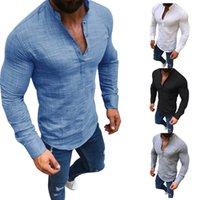 Plus Size 3XL Men Social Shirt Casual Button Linen Mens Clothing Fashion Solid Long Sleeve V Neck Slim White Blouse