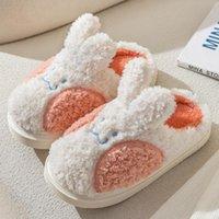Slippers Women's Closed Furry Warm Cozy Indoor Cute Cartoon With Ears Plush Memory Foam Winter House Cotton Shoe