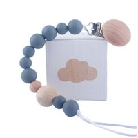 Pacifiers# Born Feeding Pacifier Baby Wooden Beaded Clip Silicone Chain Nipple Holder For Children 2021