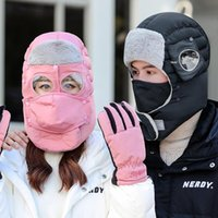 Cycling Caps & Masks 2021 Design Set Women Men Knitted Balaclava Ski Mask Hat Scarf Neck Warmer Winter Skullies Beanies Warm Fleece Cap