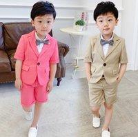 Jungen Party Kleidung Sets Sommer Kinder Revers Halbhülse Blazer Outwear + Casual Shorts 2 stücke Kindertag Leistung Kleidung A6900
