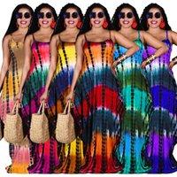 Sexy mujeres sin mangas largas vestidos maxi de moda tinte estampado con llave floja con bolsillos ropa casual de verano de las señoras 837