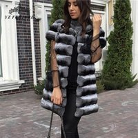 Chinchilla Vest Women Winter Warm Thick Fur Gilet Lady Real ...