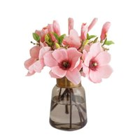 Flores decorativas grinaldas 1 pcs flor artificial única haste magnólia para decoração de quarto ornamento de casamento