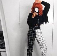 Streetwear Dames Capri Cool Meisjes Zwart-wit Dambord Patchwork Broek Lading Broek Hight Taille Recht Los