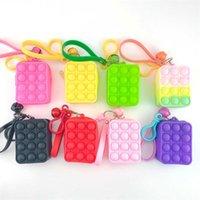 Sólida Arco-íris Color Mini Bolhas Bolsas Sensory Borracha De Silicone Bolsas Chaveiro Anel Fidget Push Bubble Puzzle Capas Carteira Moeda Bags Presentes G78J3ZP