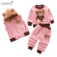 Children's Clothing Winter Suit 1 2 3 4 Years Toddler Boy Girl Fashion Fleece Thick Warm 3PCS Set Vest Hooded Tops Pants 201126