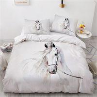 Bedding Sets Horse Set 3D Custom Design Animal Duvet Cover White Bed Linen Pillow Cases Full King Queen Super Twin Size
