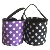 Halloween Bucket Party Kids Carry Baskets Candy Toy Sacks Gift Wrap Polka Dot Funny Trick or Treat Tote Storage Bags Festives Supplies Decorations Printed B7795