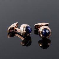 Lüks Kol Düğmeleri 1 Çift Mavi Gem Kol Düğmesi Paslanmaz Çelik Manşet Kol erkek Kol Düğmeleri Kaliteli Fransız Manşet Bağlantı 472 T2