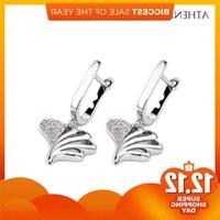 Athenian 925 Sterling Silver With Clear Cz Cross Shell Shape Drop Love Earrings For Women Jewelry Poison Brincos
