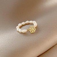 Anillos de racimo elegante simple natural natural perla de agua dulce índice vegetariano para mujer 2021 joyería de moda fiesta regalo dama anillo