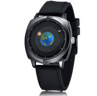 상표 패션 크리 에이 티브 디자인 쿼츠 망 시계 42mm 독특한 썬 문 다이얼 시계 실리콘 밴드 또는 가죽 스트랩
