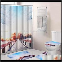 Curtains Aessories Home & Gardenwinter Snow Print Shower Bath Aount Carpet Set Non-Slip Toilet Seat Bathroom Partition Curtain Decoration1 D