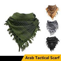 Outdoor Unisex Army Tactical Shemag Arab Sciarpe di cotone Caccia Caccia Paintball Testa Sciarpa Face Mesh Desert Bandanas Cycling Caps Maschere