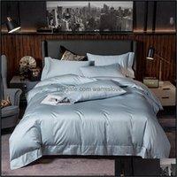 Sets Supplies Textiles Home & Gardenpure Egyptian Cotton Solid Color Tra Soft Premium Duvet Er Bed Sheet Queen King Size 4Pcs Bedding Set Dr