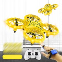 DHL SHIP Four-Axis Induction Drone Simulators Smart Watch Remote Sensing Gesture RC Aircraft Somatosensory Noctilucent Interaction Remoting Control Toys
