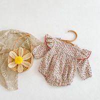 Jumpsuits 0-24M Born Kid Baby Girls Clothes Autumn Long Sleeve Floral Romper Elegant Cute Sweet Princess Flower Jumpsuit Outfit