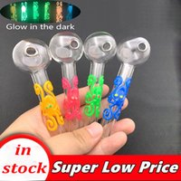 Colorful Pyrex Glass Oil Burner Pipe 4inch 30mm ball Glow In The Dark glass tube smoking water pipes tobcco herb glass oil banger nails