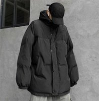 Men's Down & Parkas 2021 Winter Hooded Stand Collar Casual Polyester Zipper Solid Color Oversize Loose Black Thick Warm Jacket