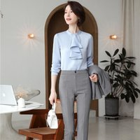 Women's Two Piece Pants Spring Fall Women Blouse And Plaid Sets 2 Pieces OL Styles Fashion Casual Shirring Shirt Formal Professional Suit Tr