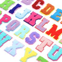 수건 자수 만화 다채로운 편지 셔닐 실 패치 패브릭 사용자 지정 무지개 색 편지 스티커 패치 워크 당신을 사랑합니다 rrd7269